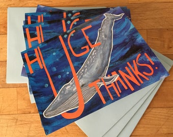 Huge Thanks Grey Whale Boxed Note Cards