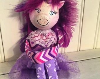 Purple Unicorn Knee Hugger Doll