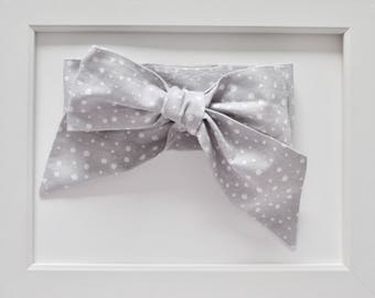 Grey Polka Dot Head-wrap/Oversized Bow Headband/Infant Headband/Toddler Headband/Baby Headband/Baby Shower Gift