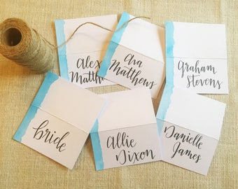 Watercolor Place Cards Beach Wedding Table Numbers