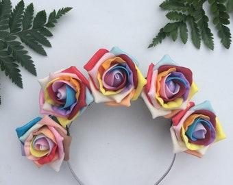 Rainbow Headband, Rainbow Roses, Gay Pride Band, Festival Headband, Rose Crown, Rainbow Crown, Pride Headband, LGBT Accessory, Hair Flowers