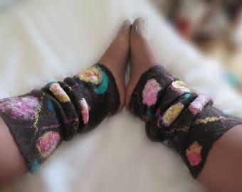 Leg warmers, leggings, merino wool felted, very warm, thick.