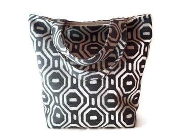 Indigo Blue Geometric Print – Small Handbag / Small Tote / Ladies Purse / Small Purse / Ladies Tote / Ladies Handbag