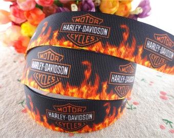 "Harley Davidson Motorcycle Grosgrain 1"" Printed Ribbon, Motorcycle Ribbon"