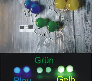 Earrings in the colours blue, green or yellow-night glowing (346)-Resin/resin