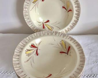 """Vintage 1940's Broadhurst """"Frolic"""" dessert bowls. Set of 4."""