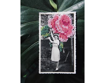 """Unique - vintage photography n.03 """"Pink collection"""" hand embroidered - cross - stitch June B. Kitsch - JBK"""