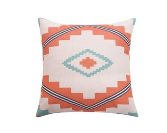 Ethnic decorative pillow cover Tribal throw pillow covers Aztec pillow case Navajo pillow case Linen cushion case Sofa home decor gift 18x18