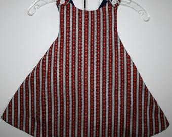 3T, Red and Blue Flower Reversible Sundress with Blue.