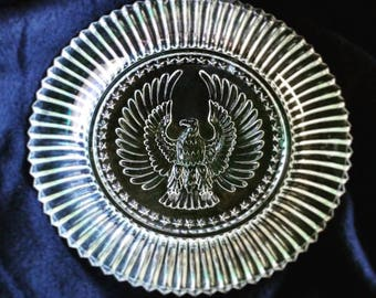Collectible American Eagle Clear Glass Plate - VINTAGE -