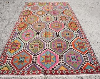 "Vintage Bohemian Turkish Kilim Rug,Hand Made Turkish Rug,Kilim,Carpet Rug ,Turkish Kilim Rug, 68,5"" x 116,5"" inches- 174 x 296 cm"