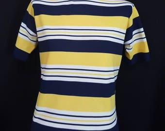 Vintage 70s RUSS GIRL Mod Striped Shirt 100% Stretch Nylon Yellow, White, Navy Blue Stripes T-Shirt Tee M/L
