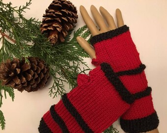 Charcoal and red fingerless gloves