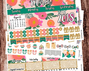 HAPPY PLANNER, March Monthly Kit, Planner Stickers, Sticker Kit, MAMBI, March Stickers