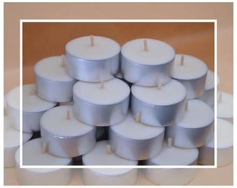 Natural Soy Wax TEALIGHT CANDLES (Tealights) : White Unscented
