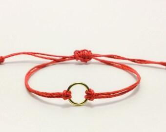 Valentine's Gift. Inspirational Gold Ring Bracelet. Good Luck Bracelet. Karma Bracelet. Evil Eye. Hamsa. Kabbalah. String of Fate. Gift.