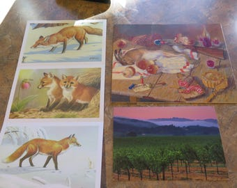 VTG Fox Postcards French Painting Still Life Pr* Wine Greeting Card Crafts Lot 5