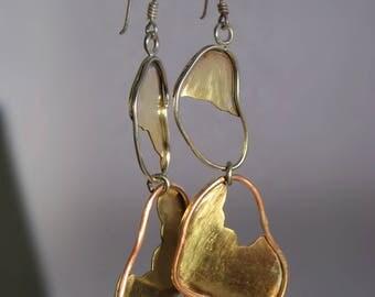 Brass earrings, mixed metal earrings, handmade silver earrings, long brass and copper earrings, statment earrings