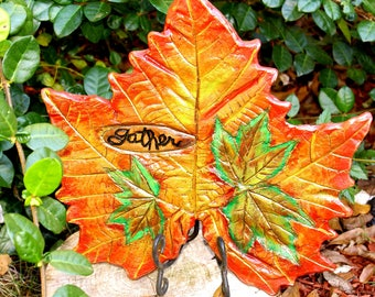 Gather is the message in this Sycamore & Maple Leaf Casting Home Decor. Something special for those who love the Fall Season's colors.
