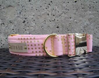 Gold Chevon on Pink Dog Collars