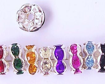 100 Rhinestone Rondelle Spacer Beads 6mm 8mm Pick You Colour