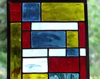 Multi-coloured stained glass 'Mondrian' suncatcher