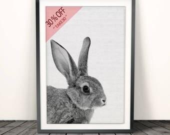 Rabbit Print, Woodland Nursery Wall Art, Rabbit Wall Decor, Animals Nursery, Animal Print, Bunny Wall Print, Nursery Art, Black White Animal