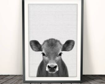 Calf Print, Baby Cow Print,Farm Animal print, Cow Print,Farmhouse Decor, Nursery print,baby animal print, Baby Shower Gift, Black and white