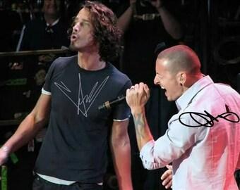 Chris Cornell & Chester Bennington Signed Photo 8X10 rp Autographed Soundgarden Linkin Park Singers