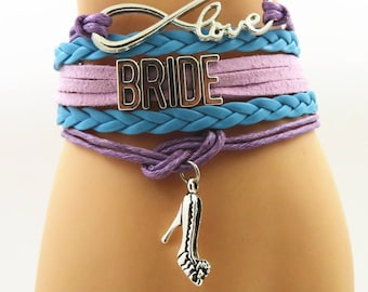 Light Purple & Blue - Bride, Maid of Honor, Bridesmaid, Groom Mother, Mother of Bride, Flower Girl, Love Bracelet Proposal Gift Ideas Bridal
