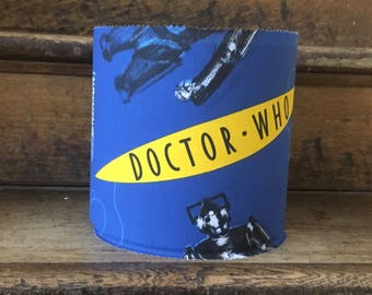 Doctor Who lampshade, blue fabric with daleks and cybermen, Doctor Who motif, ideal gift for Doctor Who fans