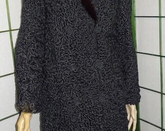 ON SALE ! Nice vintage black Persian lamb fur coat  with chic  mink collar - Sz 10 Beau manteau de mouton de Perse noir.  Gr 10