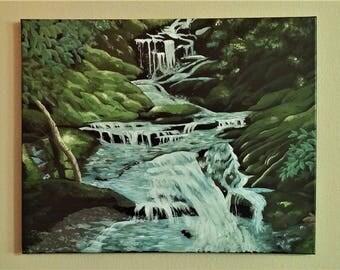 16inx20in Original Forest Waterfall, Summer oasis