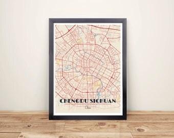 Framed Map Print of Chengdu Sichuan - Diner Retro - Chengdu Map Art