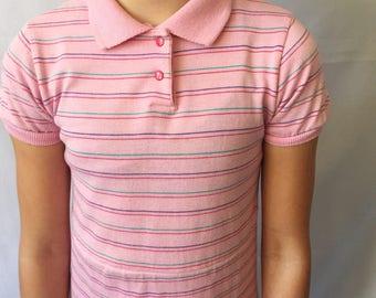 1980's vintage pink dress with stripes