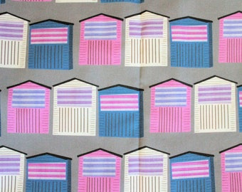 Cotton fat quarter ready to ship beach huts fabric pink grey summer spoonflower cute kitsch sewing quilting fabric piece houses pattern