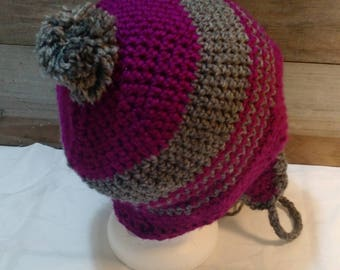 Banded Crochet Puff Hat with Earflaps