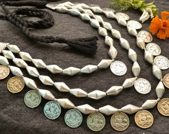 Vintage silver dholki Necklace, Tribal Necklace, Gypsy,Silver Coins Necklace,Fringe Necklace, layer necklace, Kutchi Jewelry