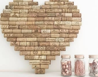 Recycled Wine Cork Memo Board - Heart - Large