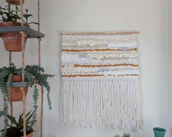 Large White & Burnt Orange Woven Wall Hanging | Cream, White and Orange Woven Wall Hanging | White Woven Wall Hanging