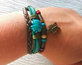 Boho Bracelet // Murano Glass Bracelet // Beaded Bracelet //  Hippie Bracelet // Gypsy Bracelet // Leather Bracelet // Friendship Bracelet