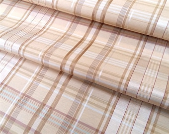 Plaid TCHATCHA - fabric - beige fabric and vanilla - Plaid upholstery fabric - fabric stripes - Nadège fabrics - 1/2 meter