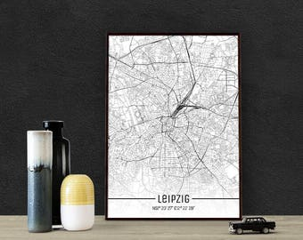Leipzig-Just a map-din A4/A3-Print