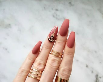 Fall matte press on nails - Rose gold Swarovski rhinestones Accent nails - Handcrafted fake nails - Coffin Stiletto Almond Oval Round N88