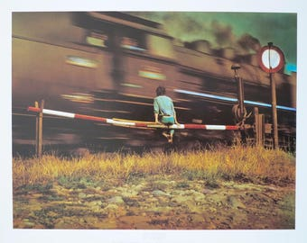 Jan Saudek exhibition poster - Boy and train - museum print railway crossing sepia czech photographer