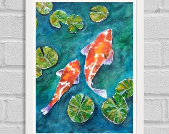 Koi fish painting etsy for Koi fish bathroom decorations