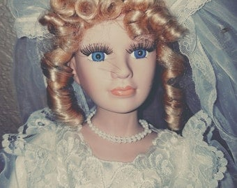 Beautiful Doll in Wedding Dress 20 inches tall