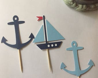 Sailboat and Anchor Cupcake Toppers