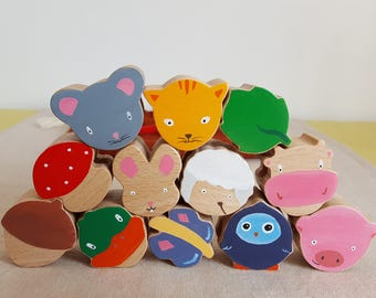 "Set of 12 ""I love nature!"" - wooden beads Mastro toys"