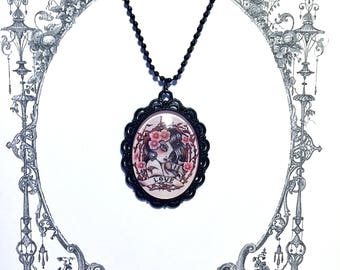 Vintage inspired Necklace: glass tattoo pinup cabochon pendant